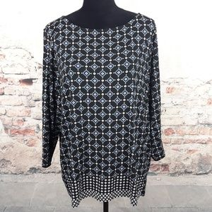 J. Jill Wearever XL Black Blue Geometric Print Top
